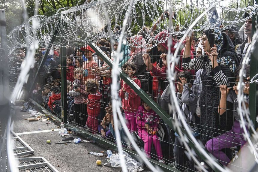 Refugees stand behind a fence at the Hungarian border on Sept 16, 2015.