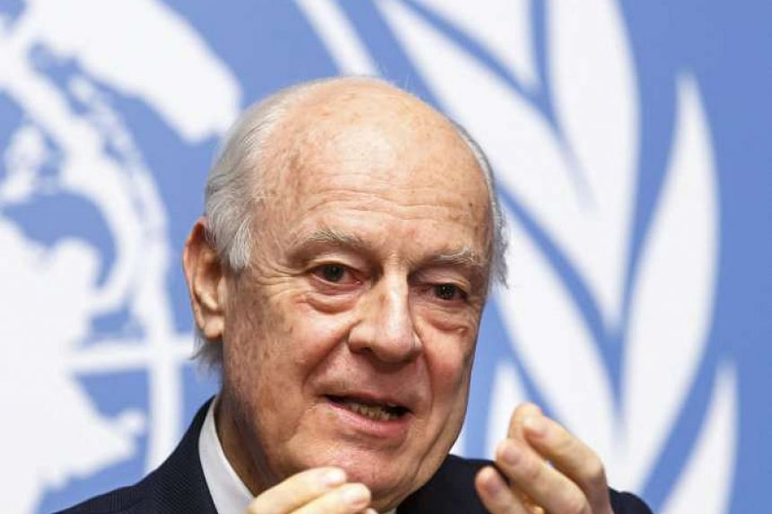 UN Special Envoy of the Secretary-General for Syria Staffan de Mistura informs the media on the Intra-Syrian Talks, during a press conference, at the European headquarters of the United Nations in Geneva, Switzerland, 25 January 2016.