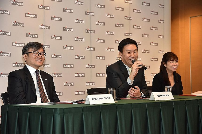 KepCorp's CEO Loh Chin Hua telling the press yesterday about the proposed consolidation of four businesses. He is flanked by the group's chief financial officer Chan Hon Chew and Ms Christina Tan, the CEO-designate of the new Keppel Capital.