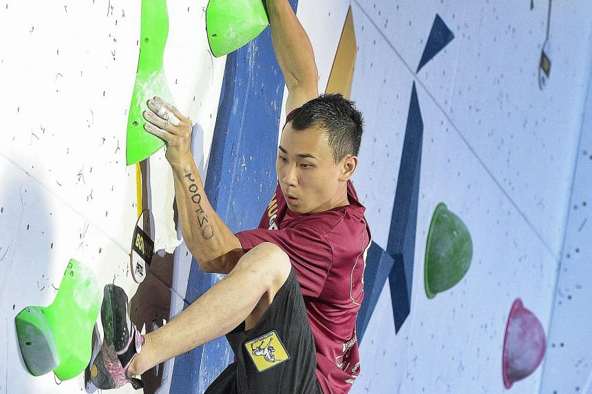 National climber Dennis Chua in action during the men's final of Gravical 2016 on Sunday.