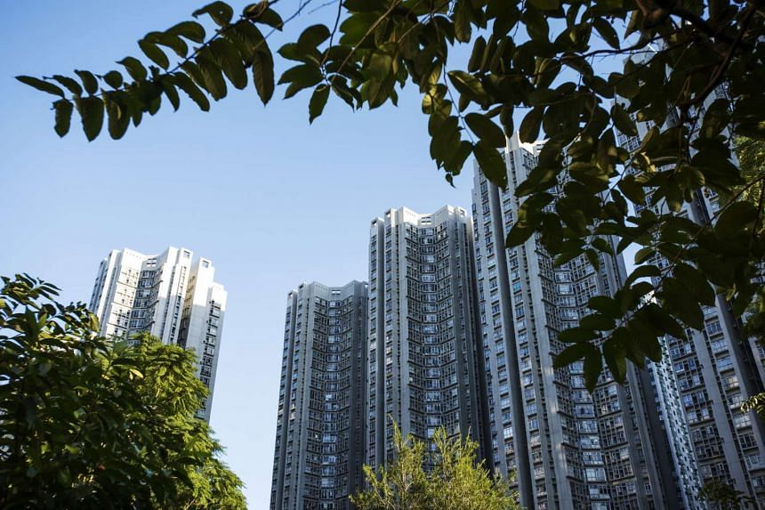 Residential buildings at the Sceneway Garden development in the Lam Tin district of Hong Kong, China.