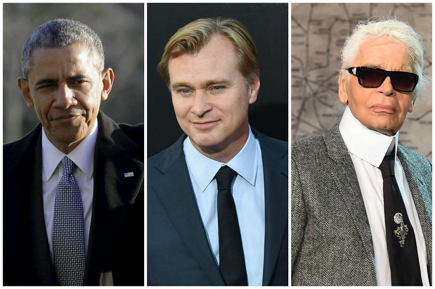 """(Left to right) Barack Obama, Christopher Nolan and Karl Lagerfeld in their """"uniforms""""."""