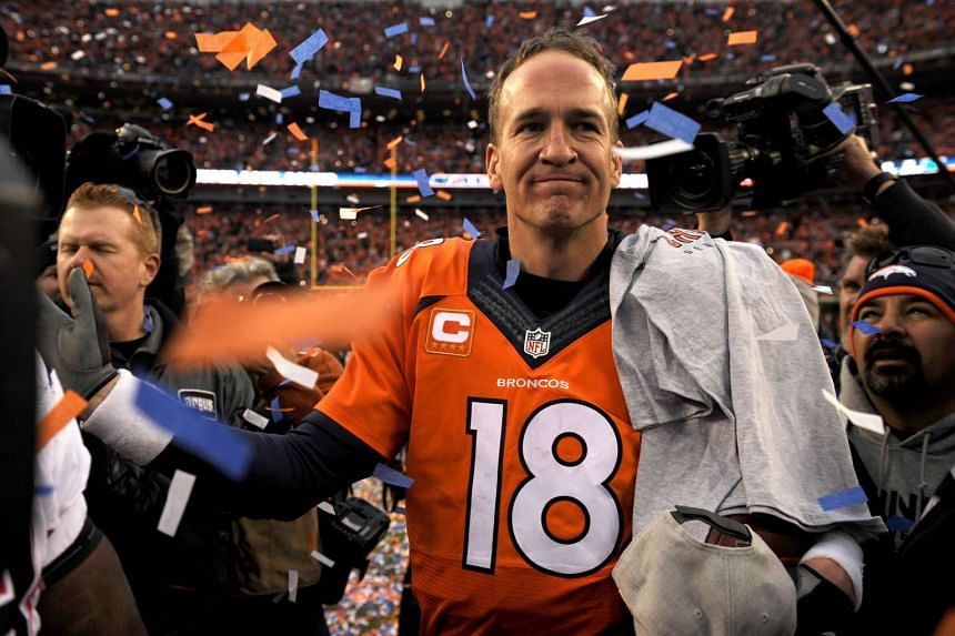 Denver Broncos' Peyton Manning walks off the field after defeating the New England Patriots in the AFC Championship game on Jan 24, 2016 in Denver, Colorado.
