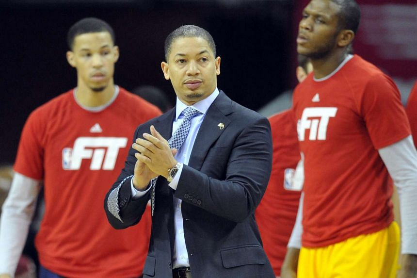 Cleveland Cavaliers head coach Tyronn Lue reacts at the Quicken Loans Arena on Jan 25, 2016.