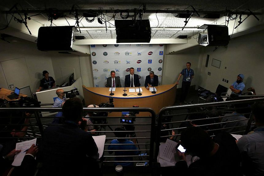 International Tennis Federation (ITF) heads hold a news conference at the Australian Open.