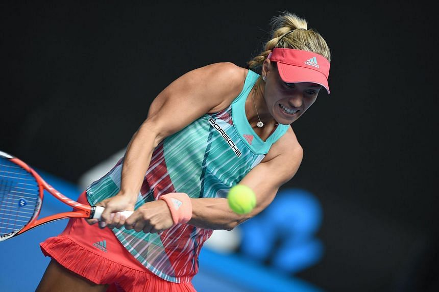 Germany's Angelique Kerber in action at the 2016 Australian Open tennis tournament in Melbourne, on Jan 27, 2016.
