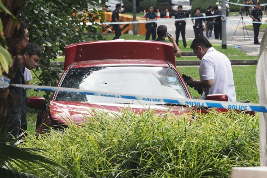 The car that Mohamad Taufik Zahar drove through concrete security barriers, with a bullet hole on its front windscreen on May 31, 2015.