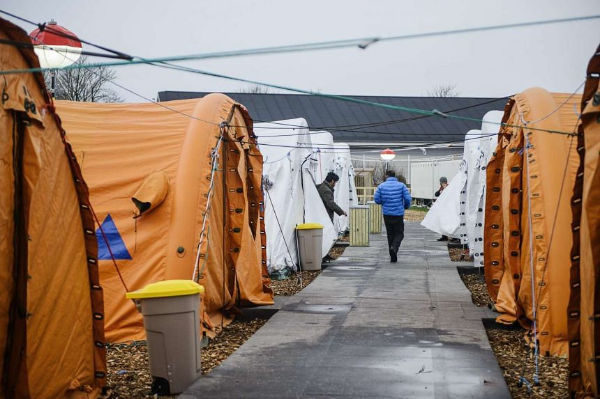 A refugee tent camp in Thisted, northern Jutland, Denmark on Jan 13, 2016.