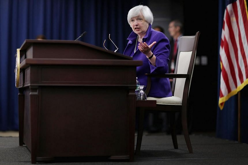 Federal Reserve Bank Chair Janet Yellen holding a news conference on Dec 16, 2015 in Washington, DC.