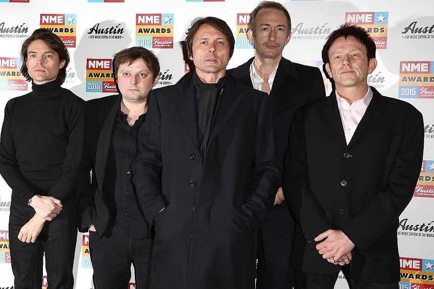 Suede comprise (from left) Neil Codling, Richard Oakes, Brett Anderson, Mat Osman and Simon Gilbert.