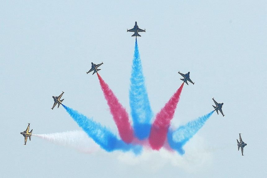 The Black Eagles aerobatic team from South Korea at the Singapore Airshow 2014. The team will perform its heart-stopping stunts again at this year's show.