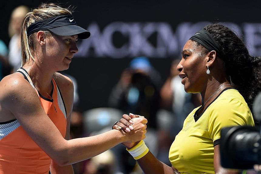 Serena Williams (right) shaking hands with Maria Sharapova after winning their Australian Open quarter-final 6-4, 6-1 yesterday.