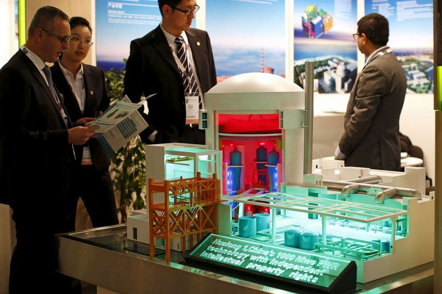 A nuclear power plant station model by China National Nuclear Corporation at the World Nuclear Exhibition 2014 in Le Bourget, near Paris.