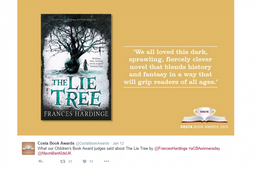 British writer Frances Hardinge wins the Costa Book of the Year Award with her children's book, The Lie Tree, in London, on Jan 26, 2016.