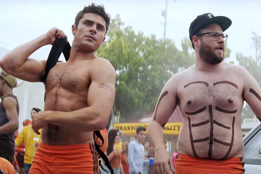 Zac Efron (left) and Seth Rogen (right).