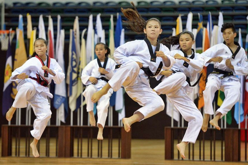 Taekwondo exponents performing during the opening ceremony of the 2016 National School Games, at the OCBC Arena on Jan 28, 2016.