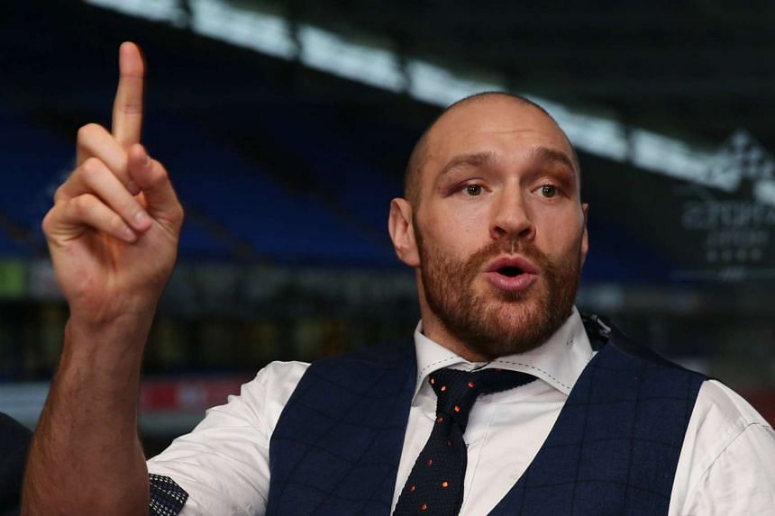 Tyson Fury speaks during the Heavyweight Champion Homecoming Press Conference.