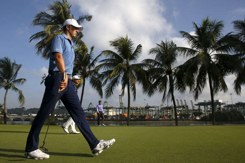 Jordan Spieth walking on the 14th green during the first round of the SMBC Singapore Open.