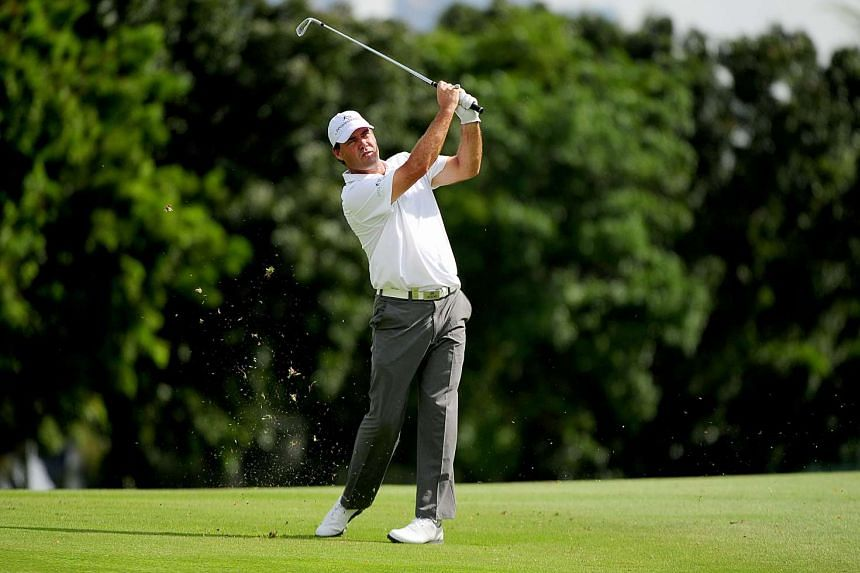 South African golfer Keith Horne hitting a shot during the first round of the Singapore Open, on Jan 28, 2016.