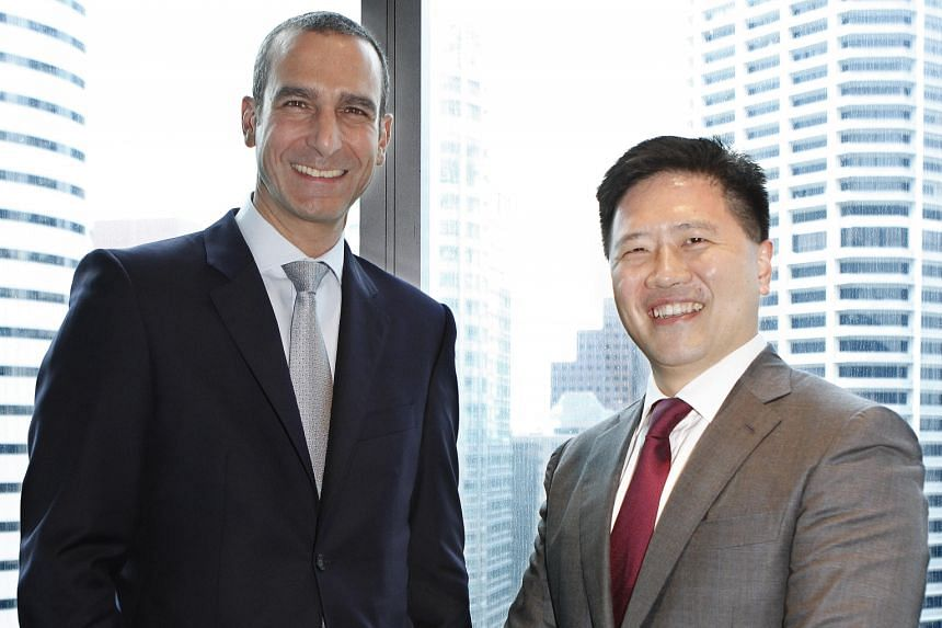 Indosuez Wealth Management head Patrick Ramsey (far left) and Mr Sen Sui, chief executive of Indosuez Wealth Management in Singapore. Asia is a priority and pillar of the French bank's activities.