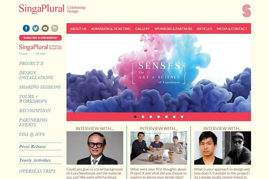 Design festival SingaPlural will run from March 7-13 this year.