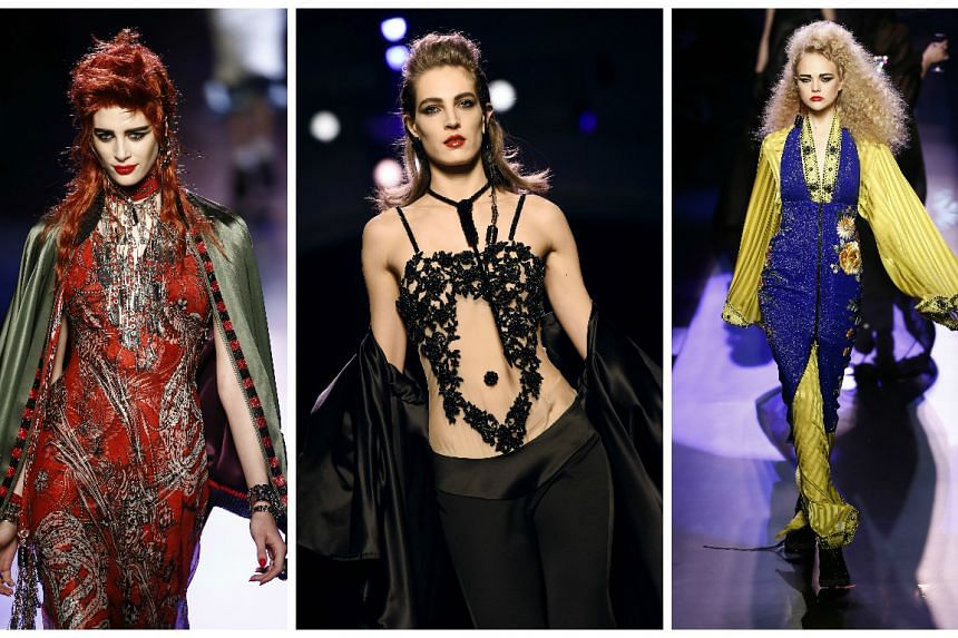Models present creations yesterday from the 2016 Haute Couture collection by French designer Jean Paul Gaultier during Paris Fashion Week.