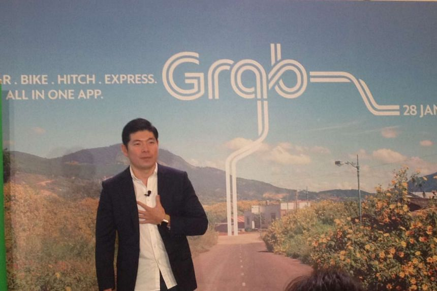 Grab chief executive Anthony Tan speaking at a press conference on Jan 28.