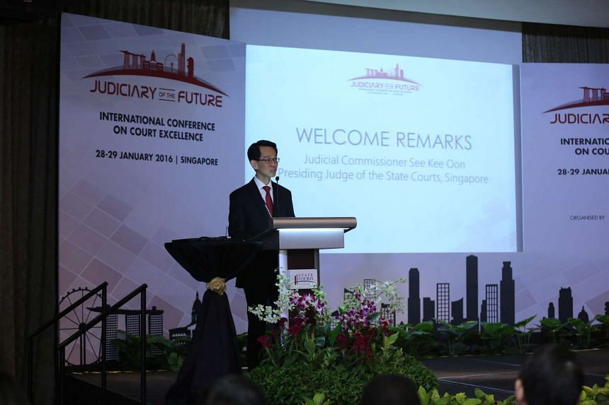 Presiding Judge of the State Courts See Kee Oon delivering his opening address at the International Conference on Court Excellence, at the Fullerton Hotel on Jan 28, 2016.