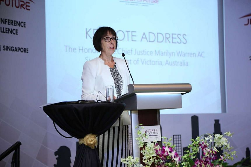 Honourable Chief Justice Marilyn Warren AC, of the Supreme Court of Victoria, Australia, delivering her keynote speech at the conference on Jan 28, 2016.