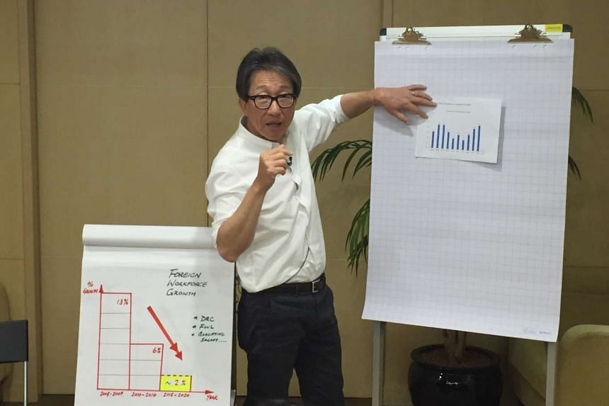 Manpower Minister Lim Swee Say giving a press briefing about preliminary labour statistics for 2015.