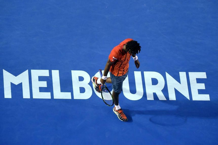 Gael Monfils of France at the Australian Open tennis tournament, on Jan 27, 2016.