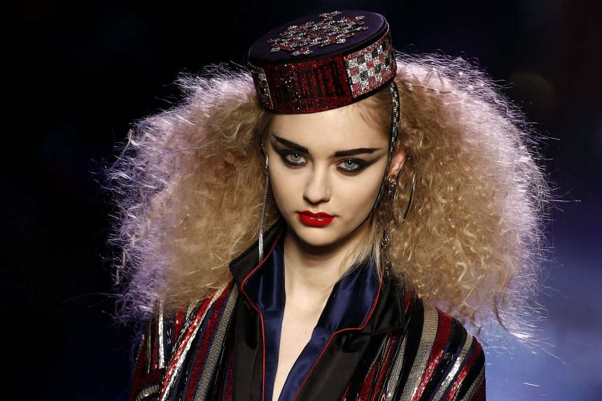 A model presents a creation by French designer Jean Paul Gaultier during the Paris Fashion Week on Wednesday.