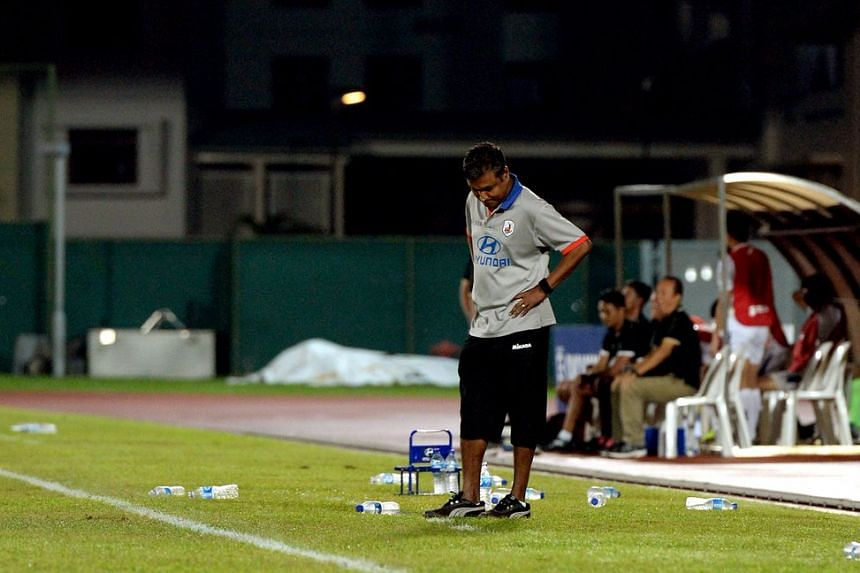 Tampines Rovers' coach V Sundramoorthy looks dejected during the match.