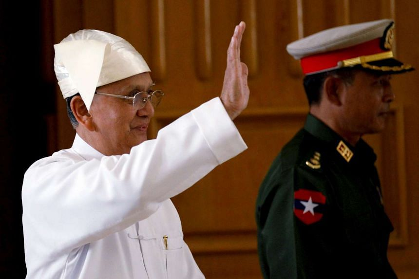 Myanmar's President Thein Sein arriving at Union Parliament in Naypyitaw on Jan 28.