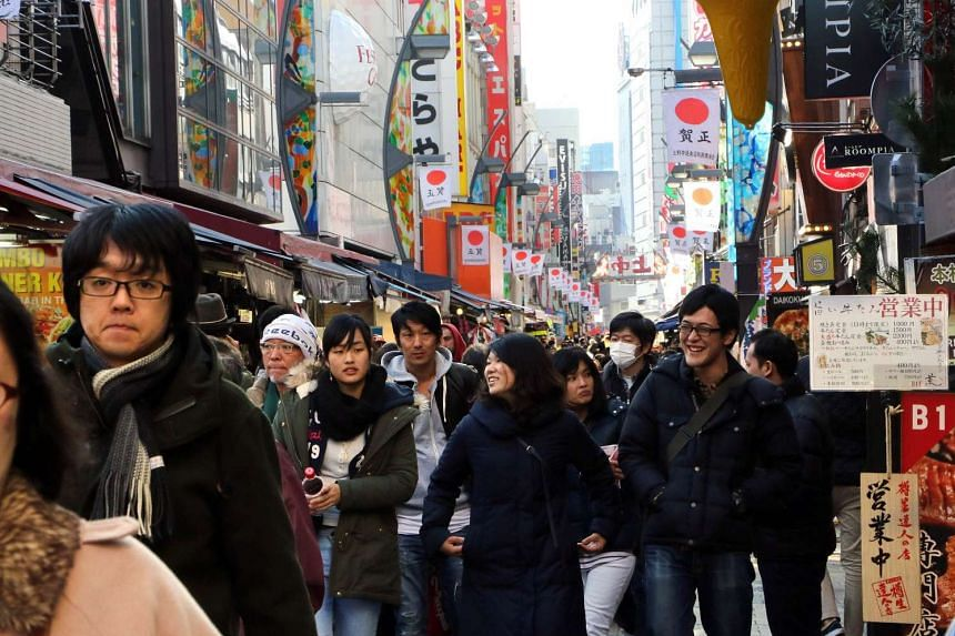The Ameyoko shopping district in Tokyo on Dec 28, 2015.