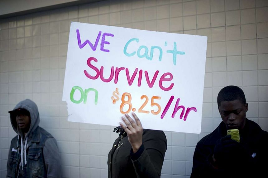 Protesters calling for higher wages outside a McDonald's restaurant in Oakland, California.