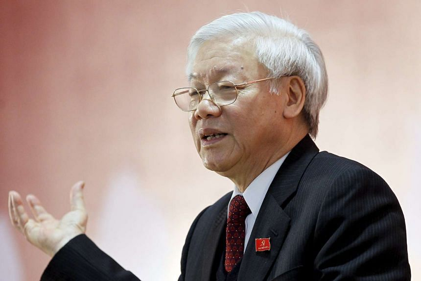 Newly re-elected Vietnam Communist Party Secretary General Nguyen Phu Trong speaks during a news conference on Jan 28, 2016.