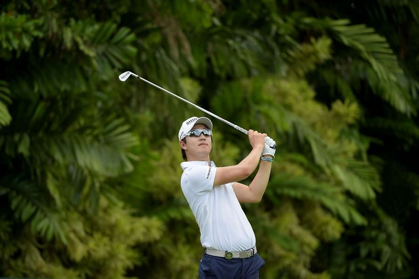 Song Young Han  hitting a shot during the Singapore Open at the Sentosa Golf Club on Jan 29, 2016.