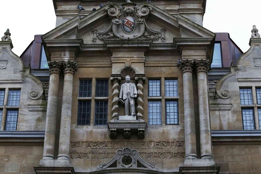 The statue of Cecil Rhodes on the facade of Oriel College in Oxford on Dec 30, 2015.