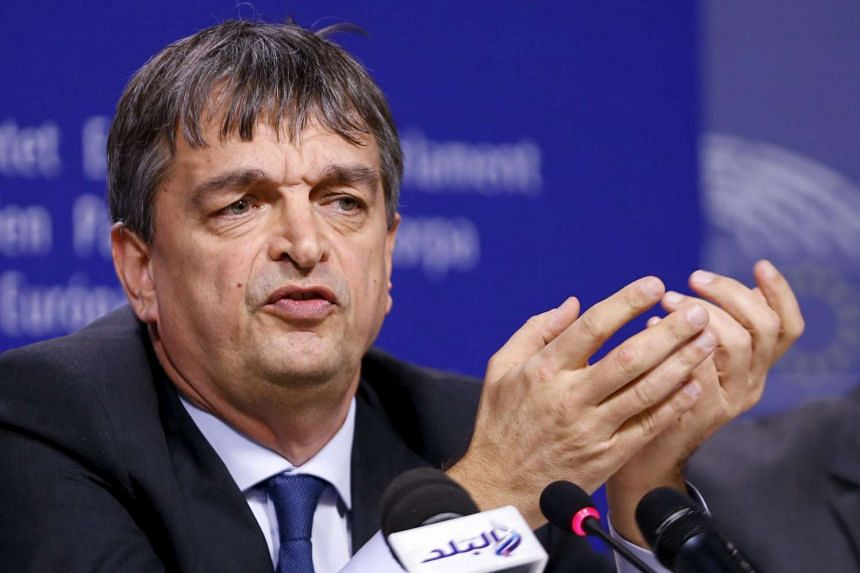 Fifa presidential candidate Champagne speaks during a news conference in Brussels on Jan 27, 2016.