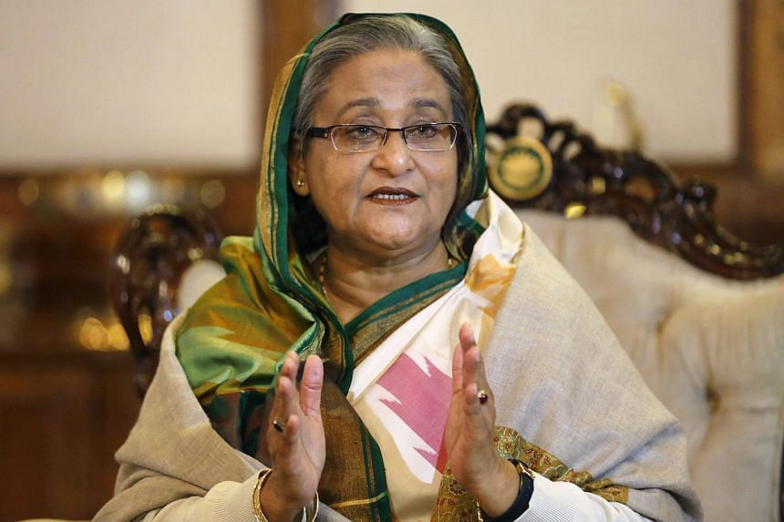 Bangladeshi Prime Minister Sheikh Hasina speaking at a media conference in Dhaka in 2014.