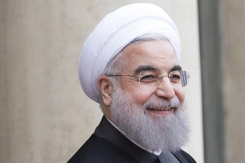 Iranian President Hassan Rouhani arriving for a meeting with French President Francois Hollande in Paris on Jan 28.