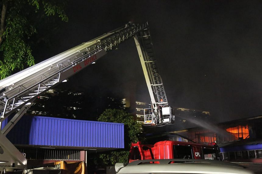 SCDF conducting aerial firefighting at Toa Payoh Industrial Park on Friday morning.