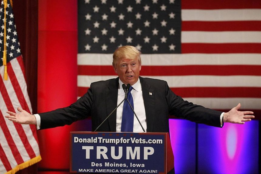 US Republican presidential candidate Donald Trump speaking at a veteran's rally in Des Moines, Iowa, on Jan 28.