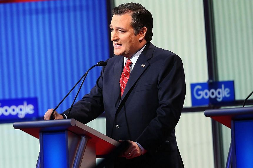 Republican presidential candidate Ted Cruz speaking at the Iowa Events Centre in Des Moines on Jan 28.
