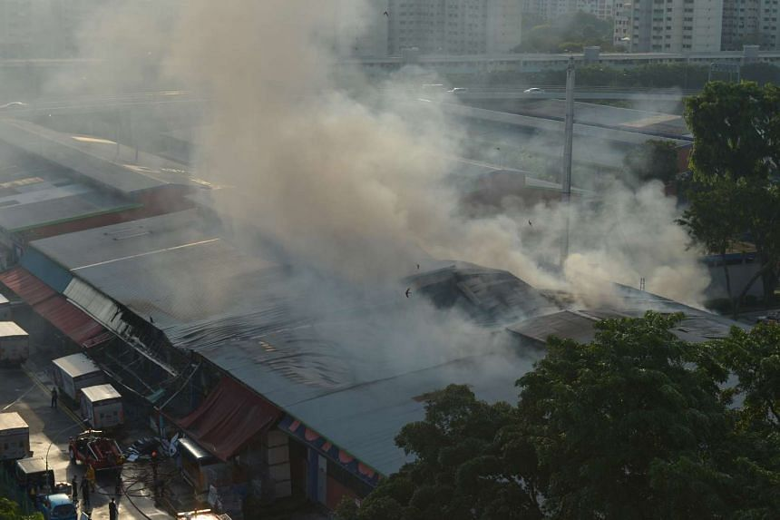 Smoke seen at Toa Payoh Industrial Park during SCDF's damping down operations.