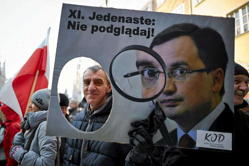 Poles protest against the new law in Gdansk on Jan 23, 2016.