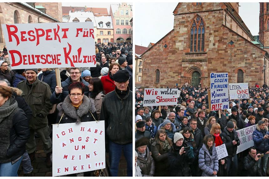 """Hundreds of """"Russlanddeutsche"""" (ethnic Germans who had formerly lived in Russia) demonstrate over the """"rape"""" of the Russlanddeutsche girl."""
