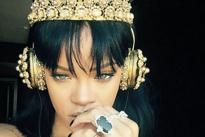 """Rihanna posted on Monday a photo of her wearing Dolce & Gabbana headphones with the caption """"Listening to Anti"""" on Twitter. The album was leaked online on Wednesday."""