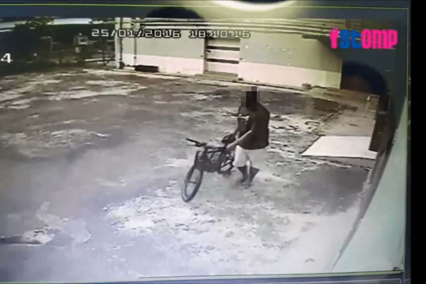 Footage from the studio's CCTV camera showed a man walking up to the bicycle, then pushing and riding it away.
